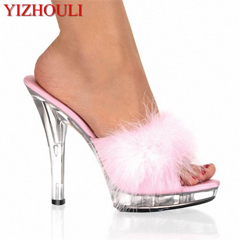 Talons hauts de 5 pouces, chaussures de danse de 13 cm, dessus en plumes semelles en cristal pantoufles sensuelles de dame