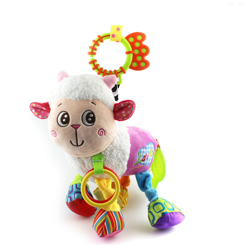 Cute Baby Hanging Toy Lamb Animal Teether Rattle Tinkle Hand Bell Multifunctional Plush Stroller Toys Kids Gift WJ316