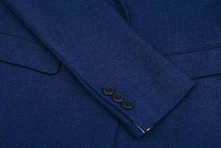 ネイビーブルーメンズスーツデザイナー 2018 男性用ウェディングスーツスリムフィット新郎タキシードハンサム最高男性ブレザー 3 ピース terno Masculino