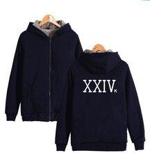 Singer-SongWriter Bruno Mars XXIVK Magic Singer Bruno Mars Zipper Hoodies Thick Warm Winter Hooded Sweatshirt Bruno Mars 24K