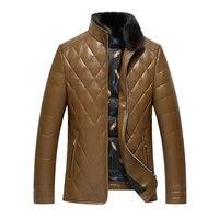 2017 mężczyzn skórzany płaszcz zimowy ciepły płaszcz faux fur odzież duże rozmiar XL 3XL znosić czarny Suede zipper Kurtka Mink fur collar