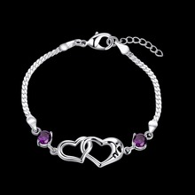High Quality Zircon Crystal Heart-shaped CZ Diamond Bracelet 925 Sterling Silve Romantic Valentine's Day Gift To Beautiful Girl