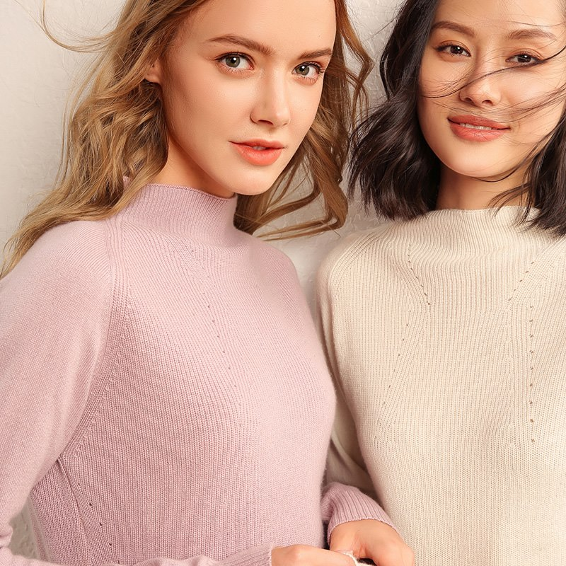 Manches khaki Pink Qualité Mode À Cachemire light caramel Colour 100 Pur Haute De Pull Femmes Longues Chandail D'o Fente Off white cou 2018 Automne En PZBExpnqwR