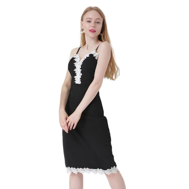 Summer Sexy Women Lace Dess Patchwork V-Neck Spaghetti Strap Dresses Slim Fit Lace Patchwork Party Party for Female Black S-XL