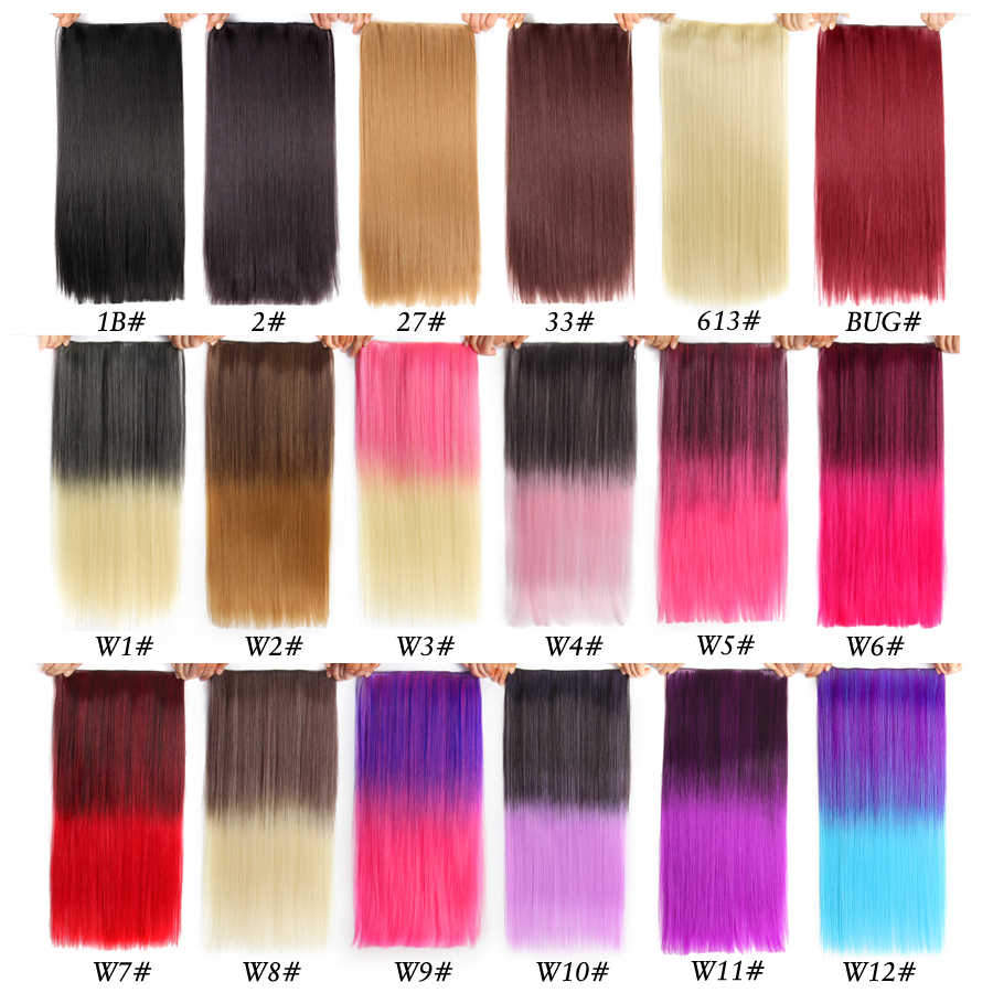 Alileader 5 grampo na extensão do cabelo ombre roxo cor vermelha 22 Polegada 56 cm longo reta falso sintético hairpiece natural cabeça cheia