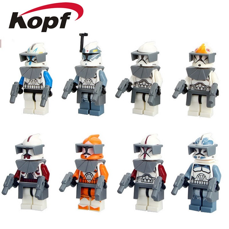 Single Sale The Force Awakens Clone Trooper Star Wars 7 Commander Fox Rex Building Blocks Collection Toys for children PG8002 90pcs decool 901 909 star wars white solider clone trooper captain rex jek 14 clone commander model building blocks bricks toys