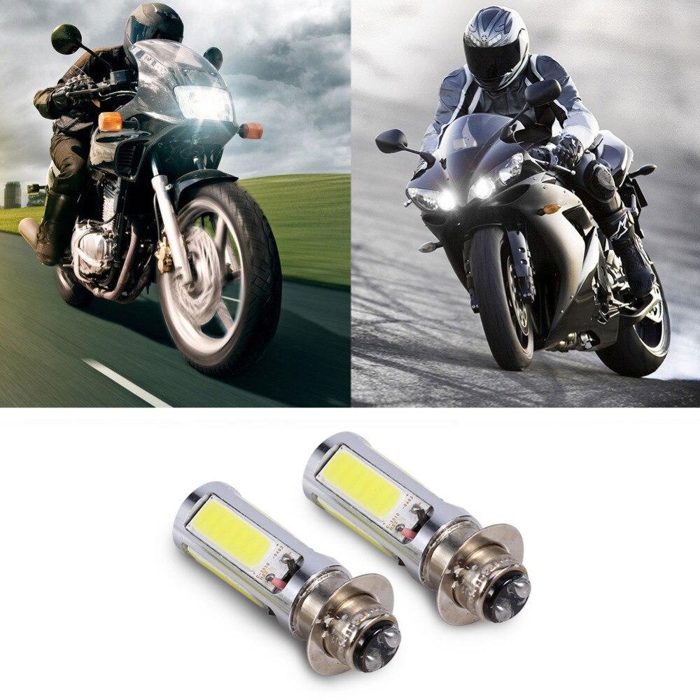 1Pair Motorcycle COB <font><b>LED</b></font> Headlight 6000K White H6M COB <font><b>LED</b></font> Motor <font><b>Bike</b></font>/ATV Headlight Fog Light Bulb PX15d P15D25-1