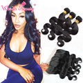 Malaysian Body Wave Virgin Human Hair Bundles with Lace Frontal Closure 3 Bundles Unprocessed Wonder Beauty Hair with Frontal