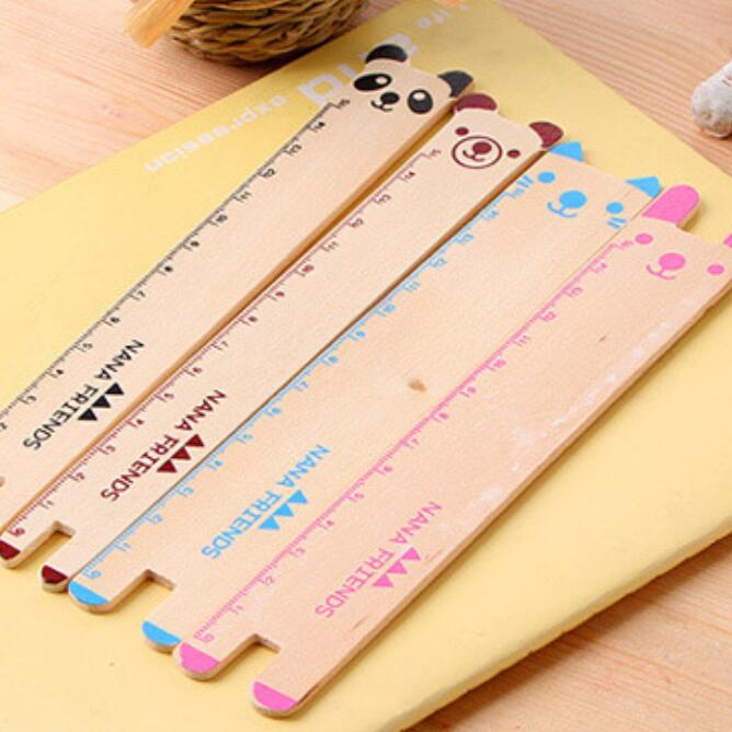 1PCS/lot Wholesale Study Stationery Cute Animal Design Wooden Bookmarker Ruler Kids' Teenagers' Gift Book Mark