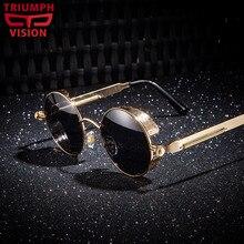 TRIUMPH VISION Punk Retro Round Mens Sunglasses Polarized for driver Anti Glare Shades Sun Glasses for men Retro Gothic Lunette