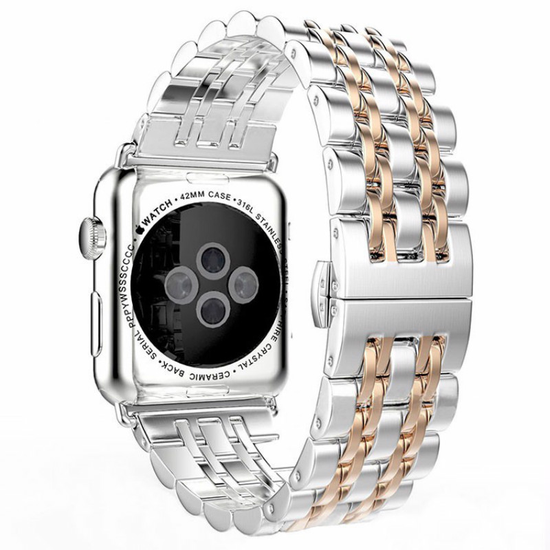 2018 New Style Full Stainless Steel Silver Gold Smart Watch Band For Apple Watch Iwatch Strap 38mm 42mm Bracelet Hidden Clasp