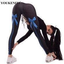 Gimnasio ropa deportiva calzas mallas de gimnasio sin legging Yoga mujeres  Yoga pantalones Leggings pajarita 3D 08f45e8c33a1