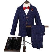 Flower Boys Witner Autumn Dress Suit Sets Children Plaid Blazer