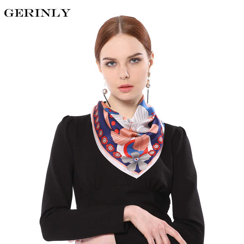 2149f569b21 100% Silk Scarf Women Flower Print Small Square Bandana Luxury Brand  Kerchief Female Foulard Hijab