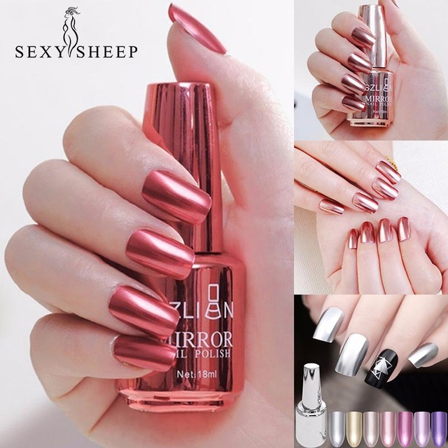 8/18ml Fashion Mirror Effect Metallic Nail Polish Purple Rose Gold ...