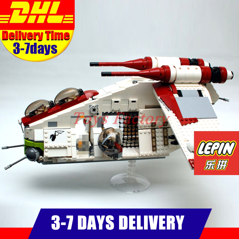 2018 DHL LEPIN 05041 1175Pcs Genuine Star Series War UCS The Republic Gunship Set Educational Building Blocks Bricks 75021 lepin legoing 75021 1224pcs star series wars the republic gunship building blocks brick educational toys for children 05041