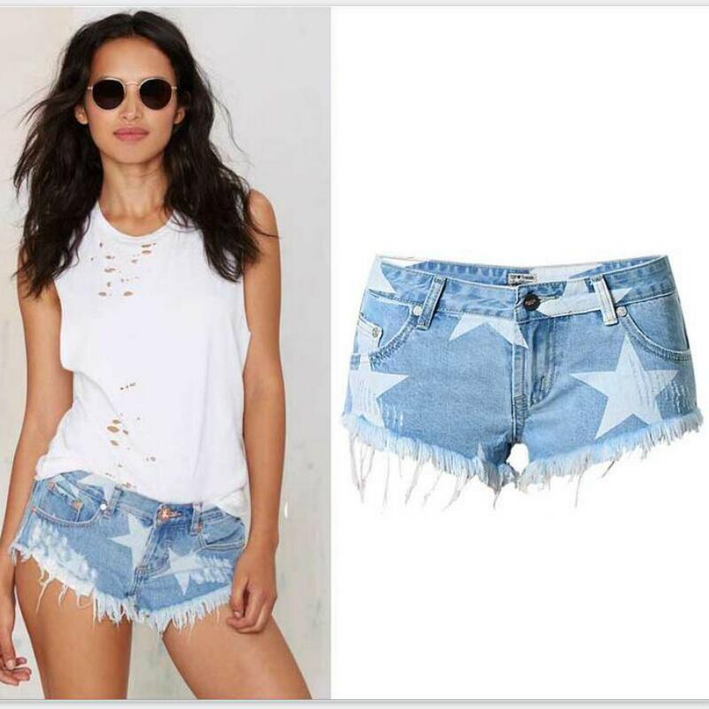 Fashion Short Jeans 2016 Summer Women High Waist Denim Shorts Frayed Hole Female Super Cool Flash
