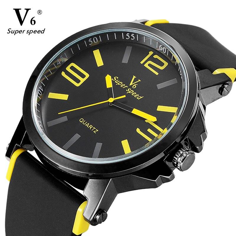 2016 En Kaliteli V6 Spor Marka Lüks İzle Erkekler Saat Moda Casual Büyük Dial Kuvars Bilek Saatler Erkek Relogio Masculino