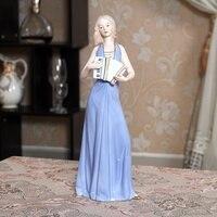 Ceramic Lady Accordion Player Sculpture Porcelain Concertina Music Figure Statuette Home Decor Present Craftworks Accessories