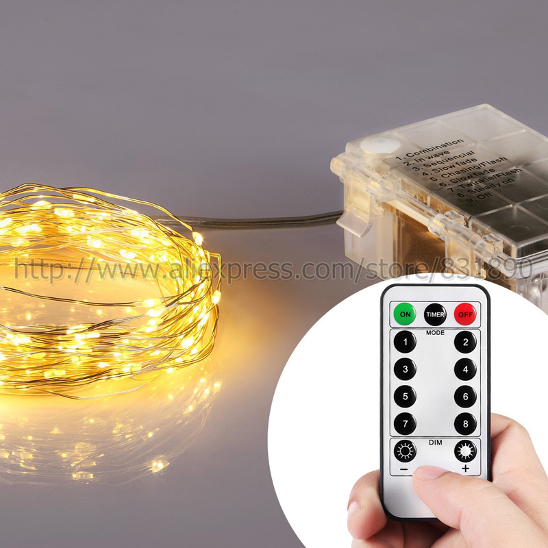 2016 New 4Color led String Lights Battery 3XAAA Waterproof miro LED 16/33-Feet Silver Wire light with Wireless Remote Controller