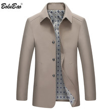 BOLUBAO Men Trench Coat 2020 New Spring Autumn Men Long Solid Color Fashion Streetwear Trench Coat Men Casual Trench Coat cheap NONE Polyester Turn-down Collar Conventional Single Breasted Full REGULAR Pockets Thin (Summer) Broadcloth