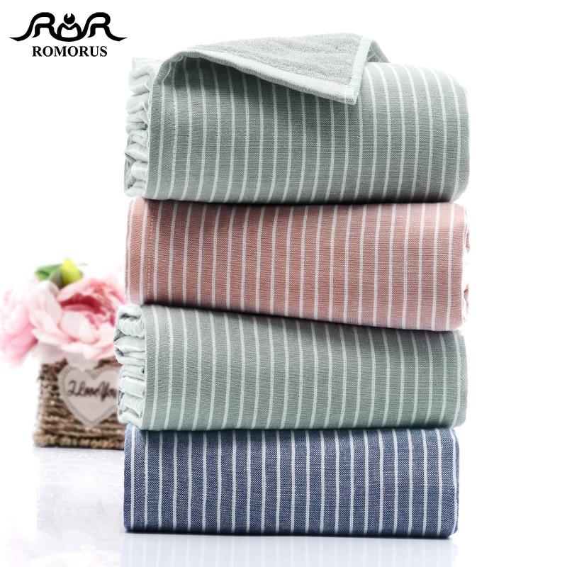 Bathroom Towels Striped: ROMORUS Blue Striped Design Adult Bath Towel Set Bathroom