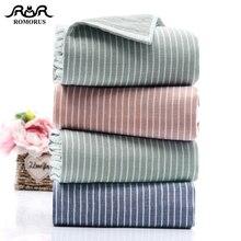 ROMORUS Blue Striped Design Adult Bath Towel Set Bathroom Towels Cotton Big Beach Face Hand Towel Absorbent Washcloth Dropship цена