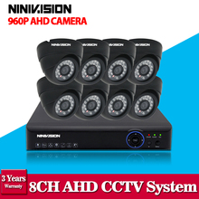 8CH AHD DVR 1080P NVR KIT Full HD 1.3MP AHD Camera Kit Day/Night Vision IR Infrared Dome indoor CCTV Home Security Camera System