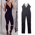 2016 Sexy Women Lace-up Black Backless Sleeveless For Women Party Club Knee Hole Playsuit Jumpsuit Combinaison Femme