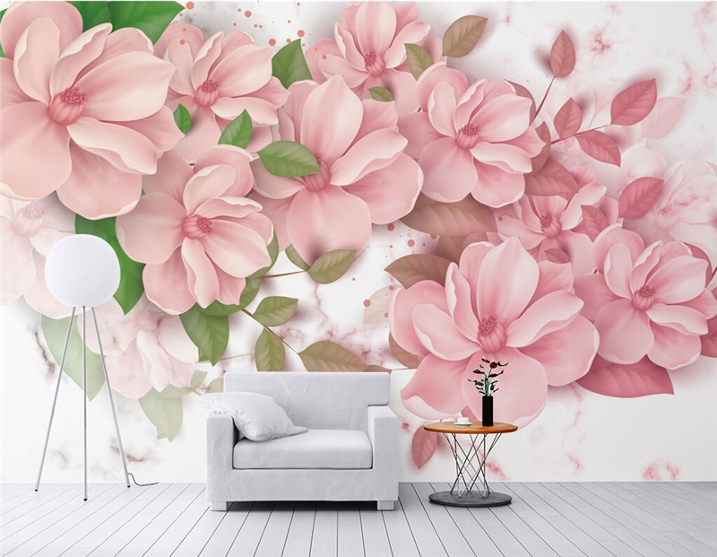 Custom 3d Wall Paper Nordic Wind Marble Pattern Floral Chinese