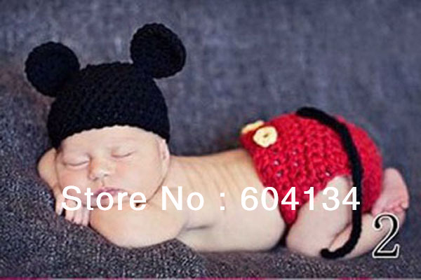 Mickey Mouse Baby Hat And Diaper Covers Crochet Photography Props In
