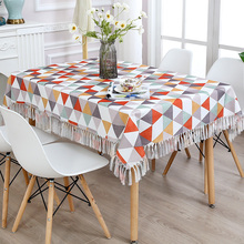Geometric Printed Tablecloth Polyester Home Kitchen Dinner Table Cloth Pastoral Style Tassel Table Decor Cloth For Living Room цена 2017