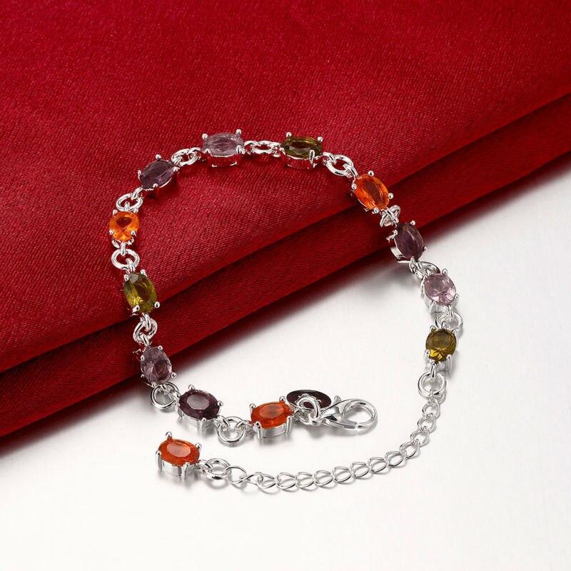 Шарм и замечательные красочные камень звено цепи Серебряный браслет Для женщин Дамы Обувь для девочек пользу Jewelry подарки Интимные аксессу...