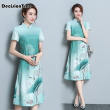 2019 navy blue satin qipao lady traditional chinese style cheongsam dresses women mandarin collar silm dress