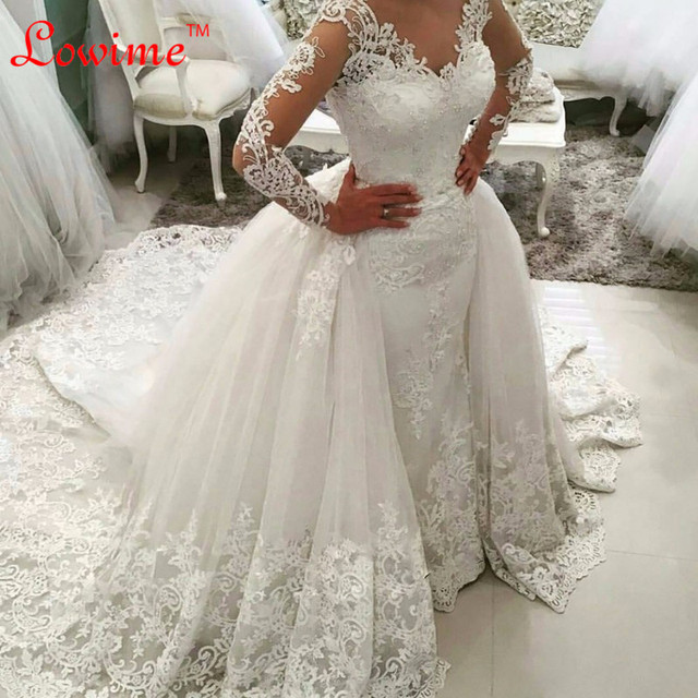 Wow In Two Piece Wedding Dress Luxury Long Sleeves Mermaid Gown Detachable Skirt Lace Bride