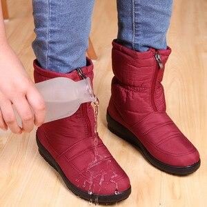 Image 1 - الشتاء أحذية حريمي برقبة منصة الإناث الثلوج حذاء من الجلد مقاوم للماء السيدات أفخم نعل الفراء بوتا الأنثوية 2020 أسود بوتين