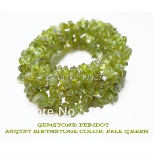 New Arriver Bracelet Green Color Peridot Chip Bead Stretch Birthstone Bracelet Baroque Shaper 7.5' Fashion Jewelry Free Shipping