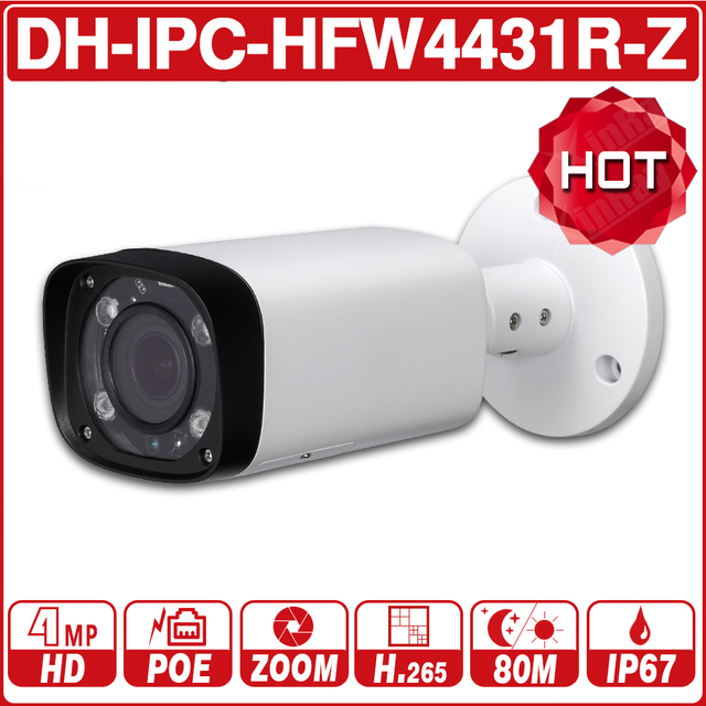 DH IPC-HFW4431R-Z 4MP Night Camera 80m IR 2.7~12mm VF lens Motorize Zoom Auto Focus Bullet IP Camera CCTV Security POE Dahua OEM