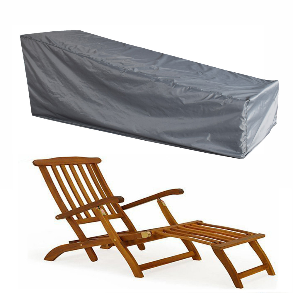 Black/Grey Waterproof Polyester Lounge Chair Dust Cover Outdoor Garden Patio Home Furniture Beach Chairs Protection Bag