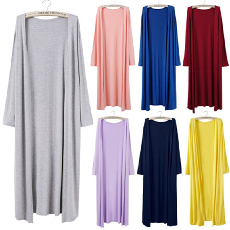 Korean 2019 Women's Casual Long Modal Cotton Sweater Cardigan Soft Comfortable Strong Simple Solid Free Size Loose Thin Cardigan