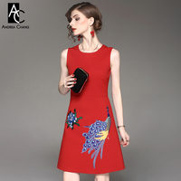 Spring Autumn Woman Dress Blue Flower Peacock Pattern Embroidery Black Red Dress Fashion Vintage Party Event