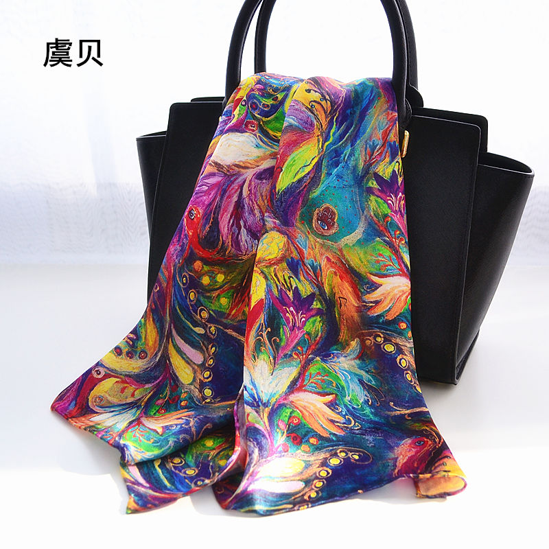 Printed long scarf women sunscreen soft thin silk scarf color feathered flowers scarves wrap shawl hijab