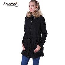 Женская куртка с капюшоном и пальто Зимние теплые флисовые ватные пальто Поддельные меховой воротник парки с хлопковой подкладкой верхняя одежда осеннее пальто WS023