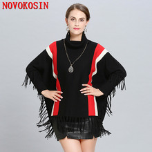 SC219 Women High Neck Cape Patchwork Black Red Striped Loose Poncho 2018 Winter Knitted Bat Sleeves Sweater Tassel Pullover Coat black chiffon loose bat sleeves cape shawl top