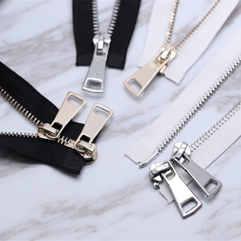 1PCS Sewing Accessories NO.5 Double-headed Two-way Light Gold& Silver Metal Zipper High-grade Jacket Jacket Leather Copper Zippe