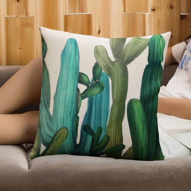 SMAVIA Sales Green Leaves Design Throw Pillow Cover 45x45cm 100% Polyester Printed Pillowcase Couch Bed Beautify Home Cover
