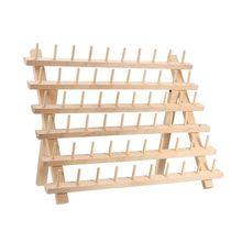 رف ومنظم خيط خشبي 60 بكرة لخياطة خياطة اللحف والتطريز