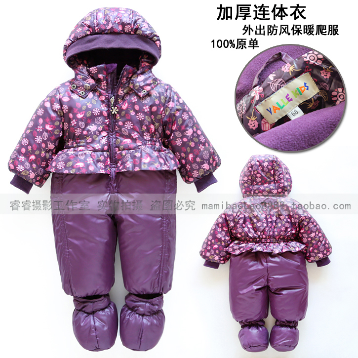 ФОТО new Fashion autumn winter romper baby clothing baby girl princess cotton rompers newborn purple print flowers lovely overalls