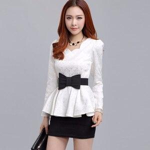 Осенне-зимняя корейская мода, белая/Черная кружевная блузка с длинным рукавом, Женская Повседневная Туника, женские элегантные топы с баско...