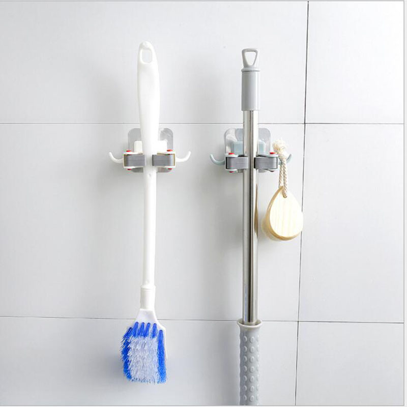 FEIGO 1Pcs Frees Punch Strong Adhesive Wall Mop Handicap Toilet Mop Towel Hook Bathroom Kitchen Cleaner Paddle Mops Clamp F282 in Racks Holders from Home Garden